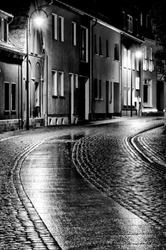 City streets of the old city. Black and White.