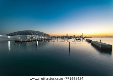 City sunset from the Sea. Close to the Louvre Museum, Abu Dhabi, Emirates, Dec.2017