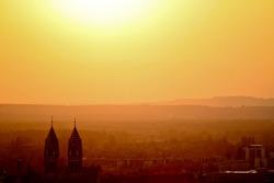 city sunset in freiburg