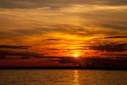 city sunset, sunrise on the sea sun ocean