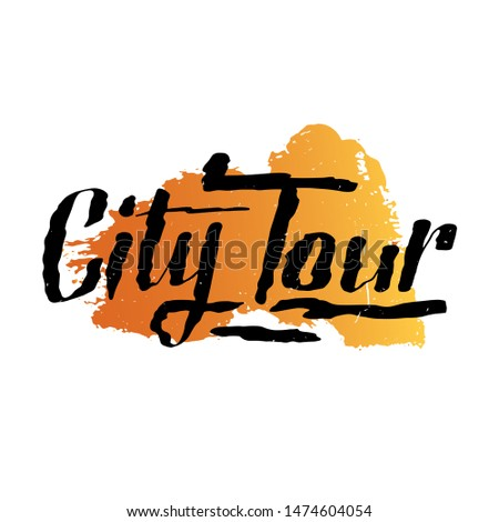 City Tours logo for travel company or agency. Travel illustration for free walking city tours or bus tours. Souvenir print design. Emblem design, hand drawn calligraphic lettering.