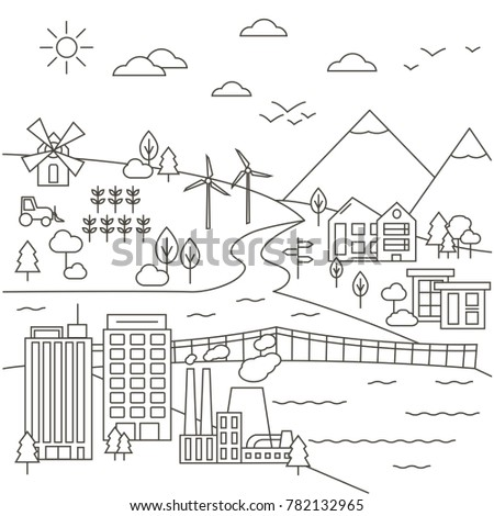 City, Town and Country Landscape Illustration in Thin Line Style. Isolated graphic elements: factory, trees, bridge; wind turbines, clouds and mountains.Cityscape design template.