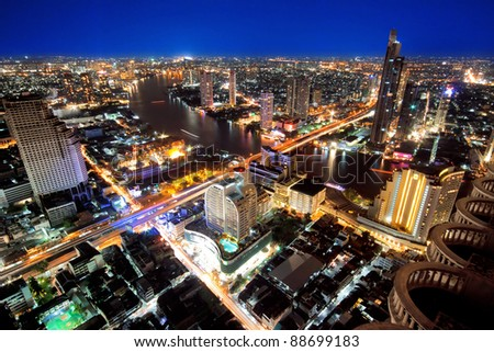 City town at night, Bird eyes view from Sky Bar at Sirocco, Bangkok, Thailand
