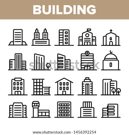 City, Town Buildings Linear Icons Set. High Rise, Multi Storey Buildings, Skyscraper Facades Thin Line Illustrations Pack. Office Centers, Apartment Houses, Malls Outline Isolated Symbols