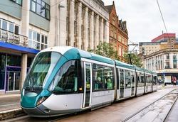 City tram at Old Market Square in Nottingham - England, UK
