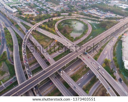 City transport traffic road with car movement at dusk aerial view #1373403551