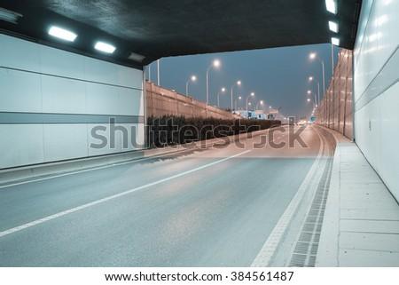 City tunnel road viaduct streetscape of night scene