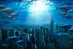 city under water, global warming effect concept