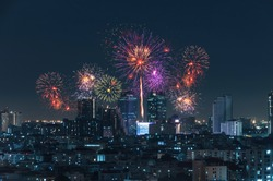 city view and Bangkok with beautiful fireworks