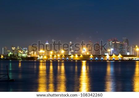City view and river at twilight of Bangkok Thailand