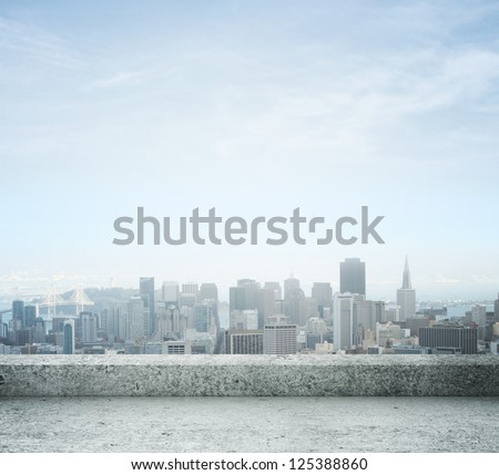 city view from concrete roof