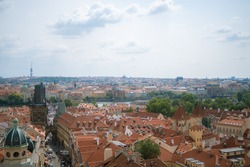 city view from the open terrace of Starbucks cafe near Prague castle, Hradcany