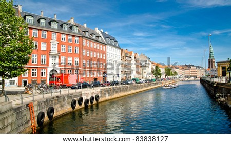 City view from the town center of Copenhagen, Denmark - stock photo