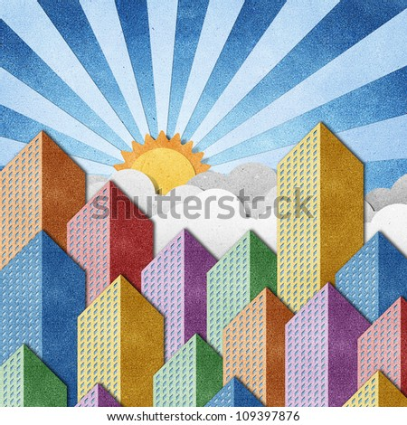 City View made from recycled paper background