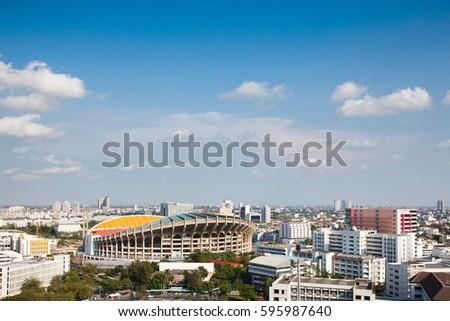 City view Rajamangala National Stadium with cloudy sky.