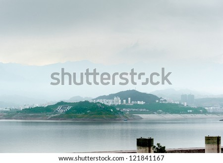 City view Sandouping in China Three Gorges Dam