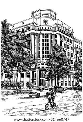 City view urban scene. Black and white dashed style sketch, line art, drawing with pen and ink. Western classical trend of book illustration and comic art.