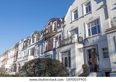 city villas with tail gables in Hamburg Stok fotoğraf ©