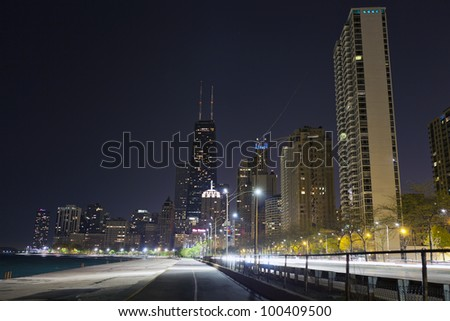 City walkway in the night