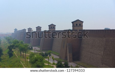 City wall of Pingyao in the dawn, Shanxi province, China