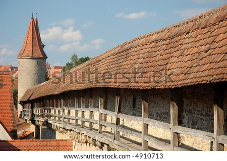 City Wall Of Rothenburg Ob Der Tauber, Medieval Town In Germany Stock ...: www.shutterstock.com/pic-4910713/stock-photo-city-wall-of...