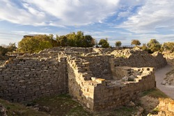 City walls in the ruins of Troy in Canakkale, Turkey.