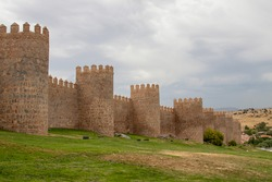 City walls of Avila, one of the most famous monuments of Spain