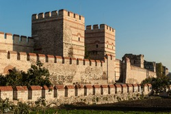 City walls of Istanbul after partial restoration