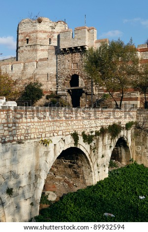City Walls of Istanbul.Some of the walls were restored,but not all.