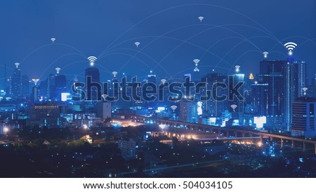 City with connected line, internet of things conceptual #504034105