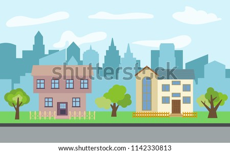 City with two two-story cartoon houses and green trees in the sunny day. Summer urban landscape. Street view with cityscape on a background