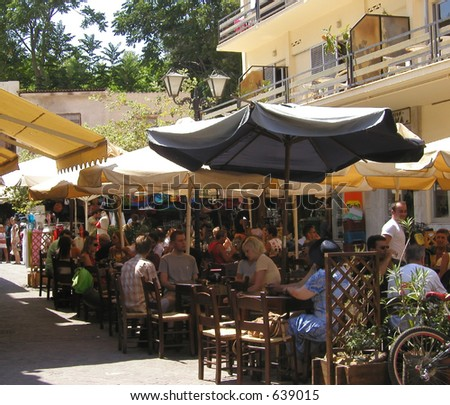 citylife in chania, a famous town on the island crete, greece