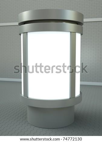 Citylight advertising pillar. 3D render.