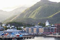 Cityline of the Norwegian town Svolvaer located on the Lofoten islands