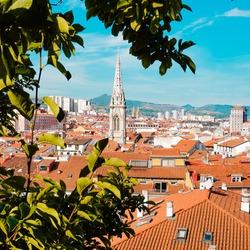 cityscape and church architecture in Bilbao city Spain, travel destination