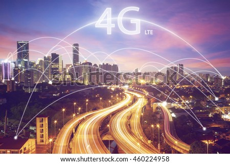 Cityscape and connection concept and 4G LTE font