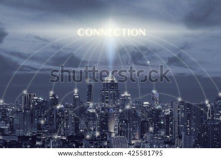 Cityscape and connection font connection concept,connection concept in blue tone #425581795