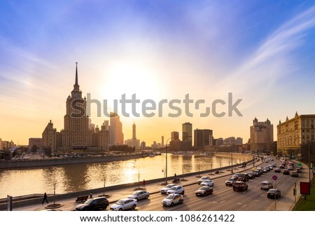 Cityscape and Landscape of downtown Moscow with Modern skyscrapers, office building and Moskva river over Sunrise sky, Moscow City, Russia #1086261422