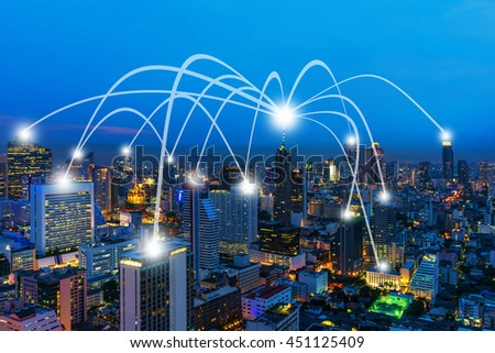 Cityscape and line effect network connection concept. #451125409