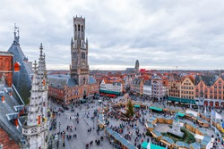Cityscape and main square in Bruges (Belgium), Belfry Tower