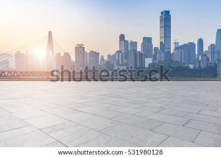 cityscape and skyline of chongqing in cloud sky on view from empty floor  #531980128