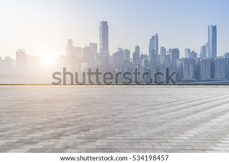 cityscape and skyline of chongqing in cloud sky on view from empty floor #534198457