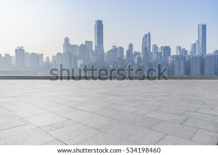 cityscape and skyline of chongqing in cloud sky on view from empty floor #534198460