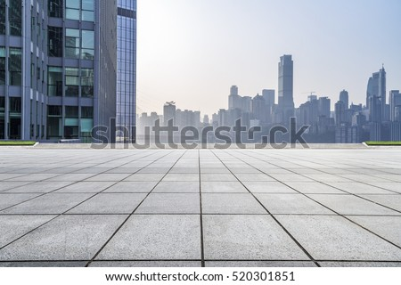 cityscape and skyline of chongqing on view from empty floor #520301851