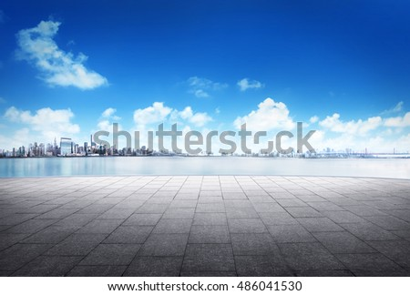 cityscape and skyline of downtown in sunrise day on view from empty floor background