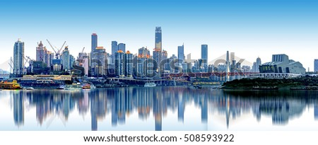 cityscape and skyline of downtown near water of chongqing at night #508593922