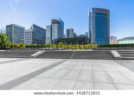 cityscape and skyline of shanghai in blue sky from empty floor  Foto stock ©