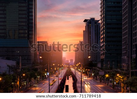 Cityscape and sunset at evening time in Bangkok Thailand.