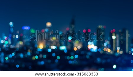 Cityscape bokeh, Blurred Photo, cityscape at twilight time #315063353