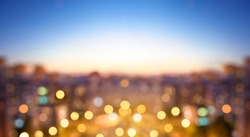 Cityscape bokeh, Blurred Photo, cityscape at twilight time. Blurred abstract city light background.